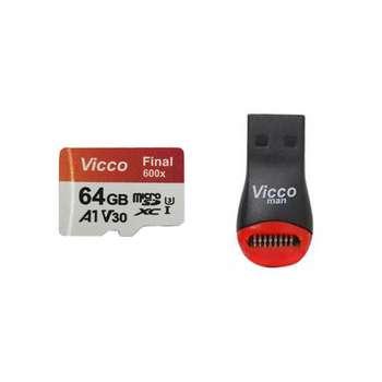 کارت حافظه microSDHC ویکو من مدل Extre600X کلاس 10 استاندارد UHS-I U3 سرعت 90MBps ظرفیت 64گیگابایت همراه با کارت خوان