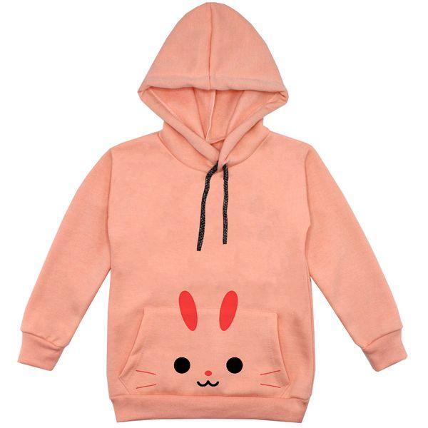 هودی دخترانه مدل خرگوش F06 رنگ گلبهی