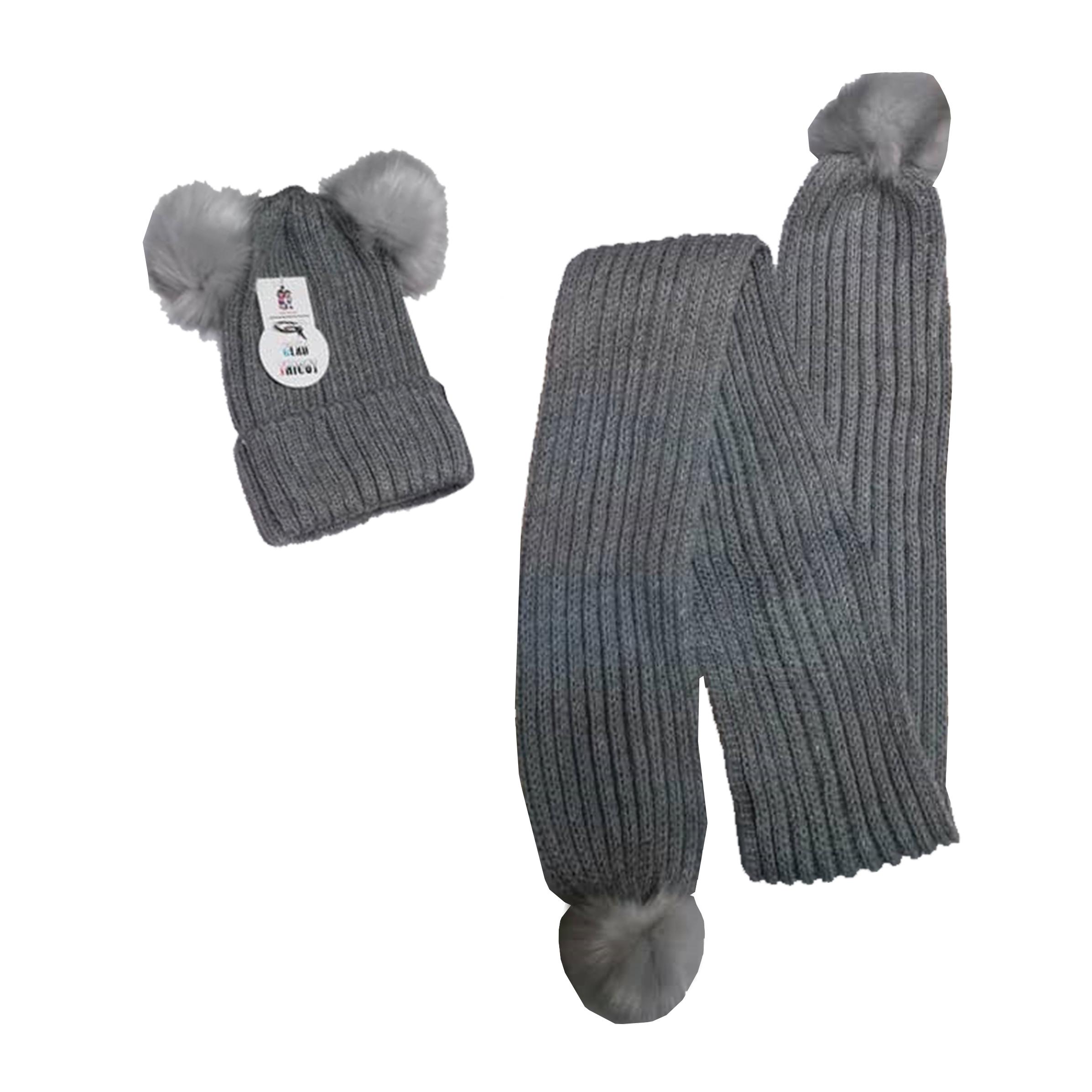 ست کلاه و شال گردن بافتنی بچگانه مدل  gald07