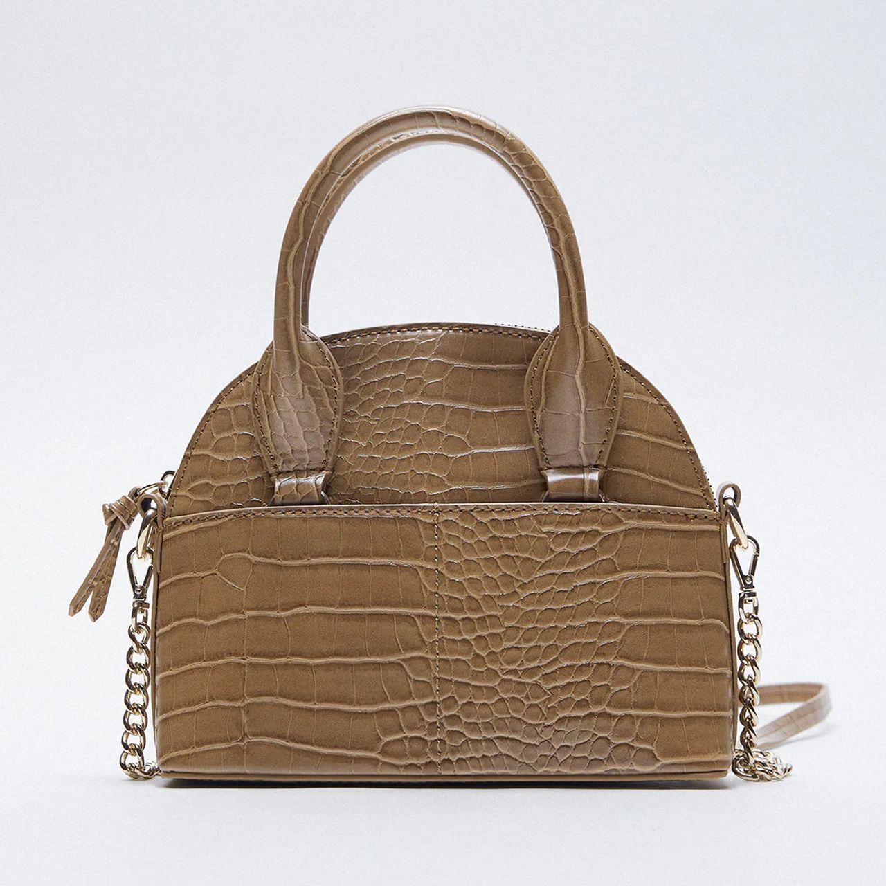کیف دستی زنانه زارا مدل ANIMAL PRINT BOWLING 6449610085