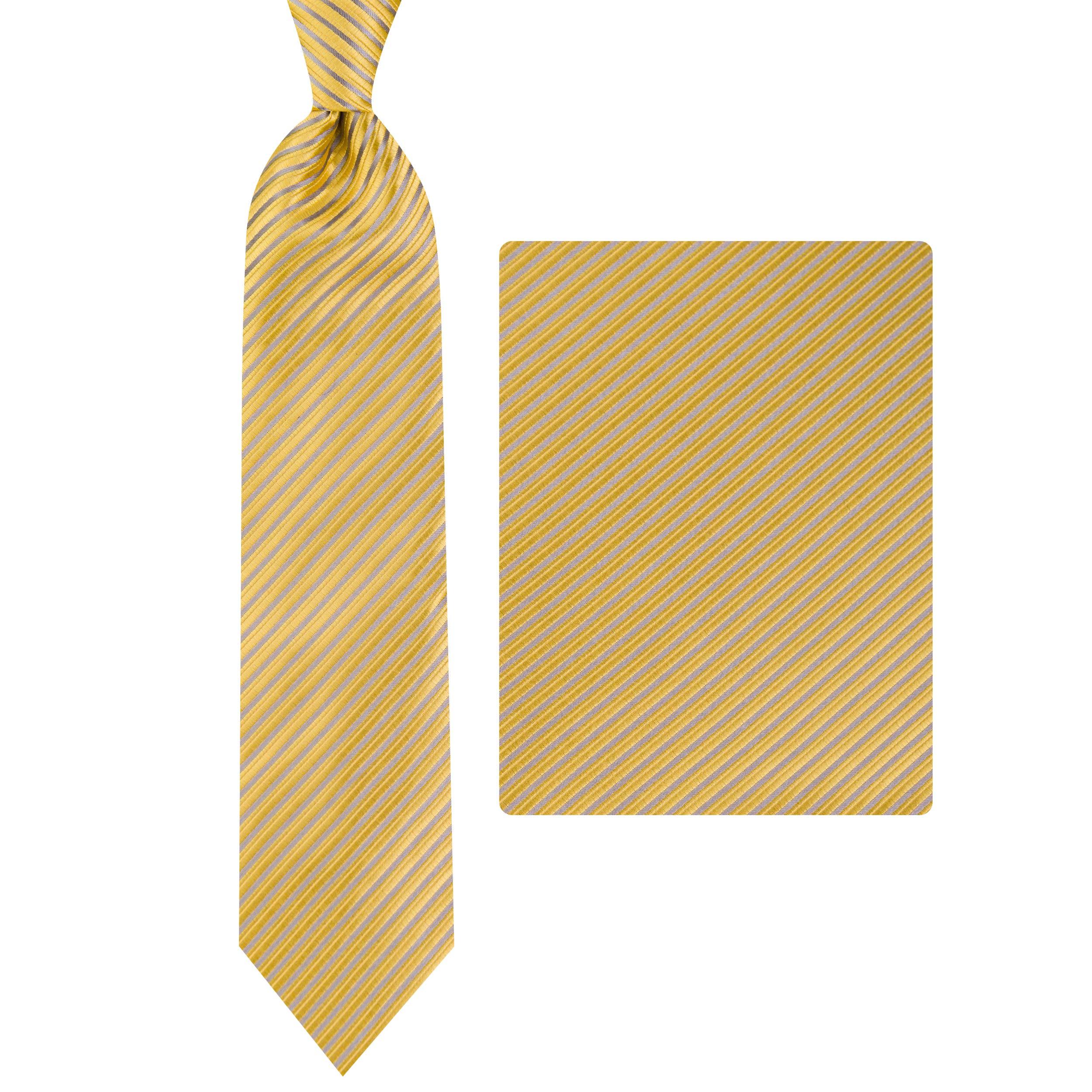ست کراوات و دستمال جیب مردانه مدل GF-ST1544-GO