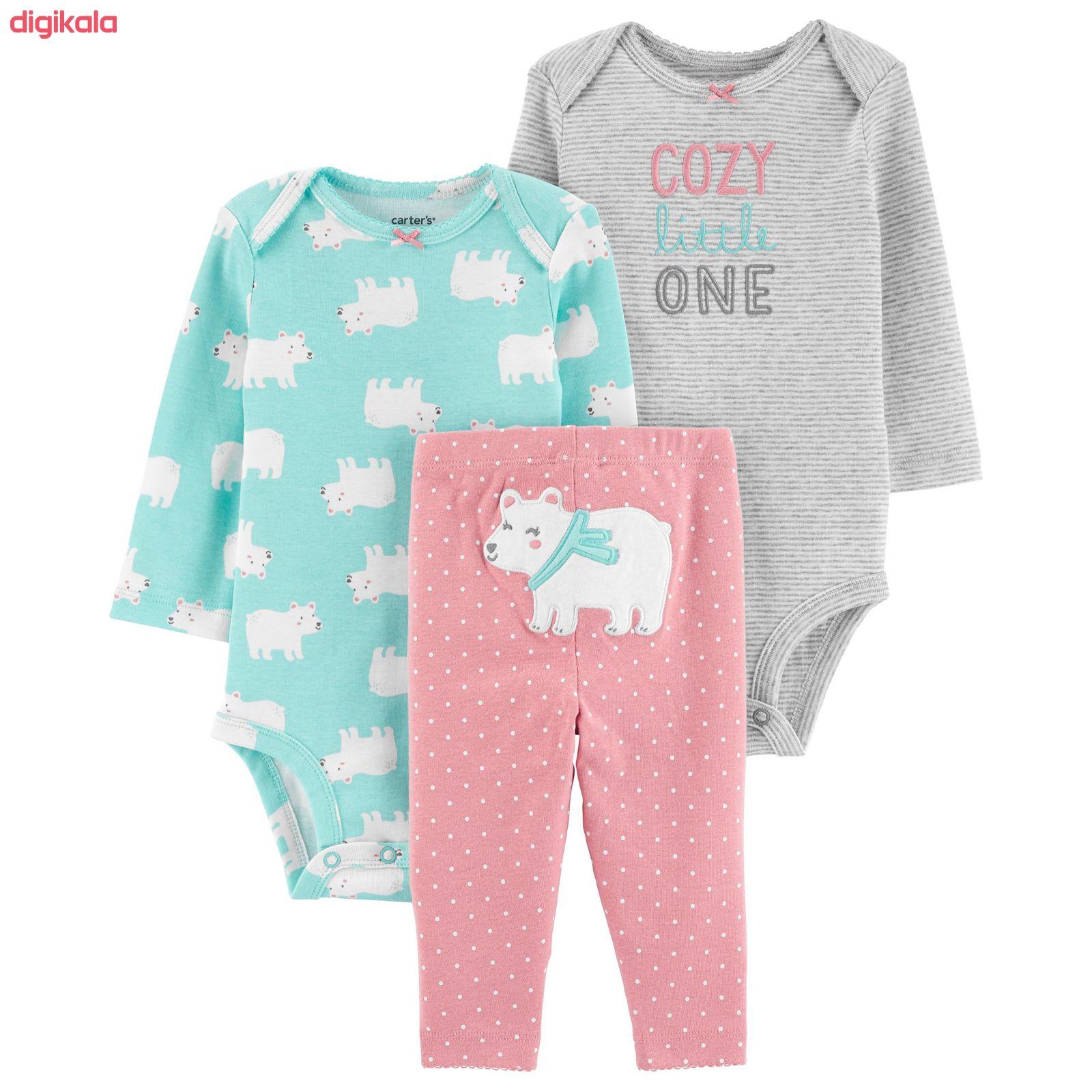 ست 3 تکه لباس نوزادی دخترانه کارترز طرح Cozy کد M369