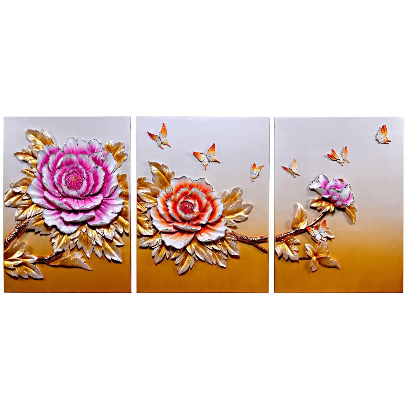 تابلو سه تکه دکوراد مدل گل رز