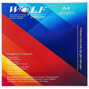 کاغذ چاپ عکس فتو گلاسه ولف مدل 260G سایز A4 بسته 50 عددی