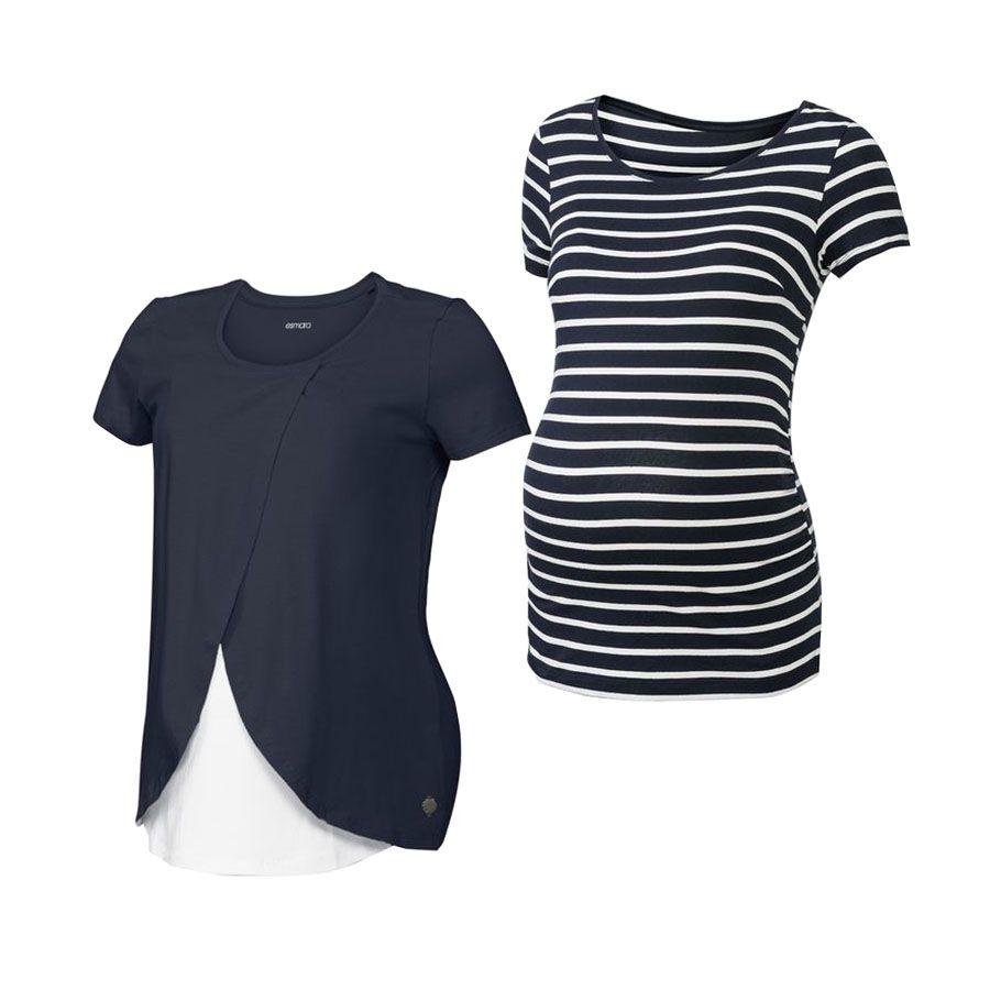 تصویر تی شرت بارداری اسمارا مدل Es482 مجموعه 2 عددی
