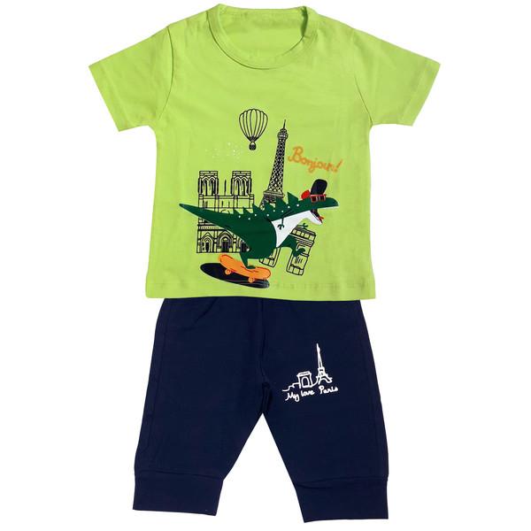 ست تی شرت و شلوارک پسرانه مدل دایناسور کد 3332 رنگ سبز