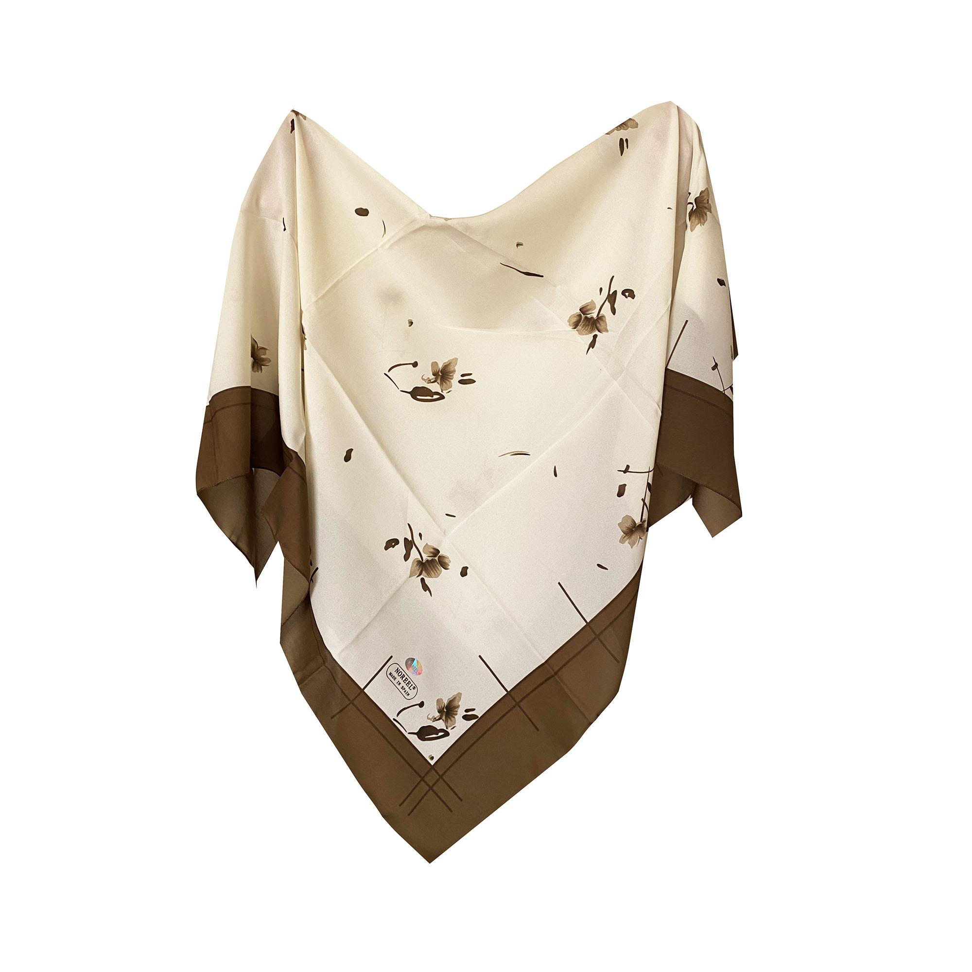روسری زنانه مدل گل رنگ قهوه ای