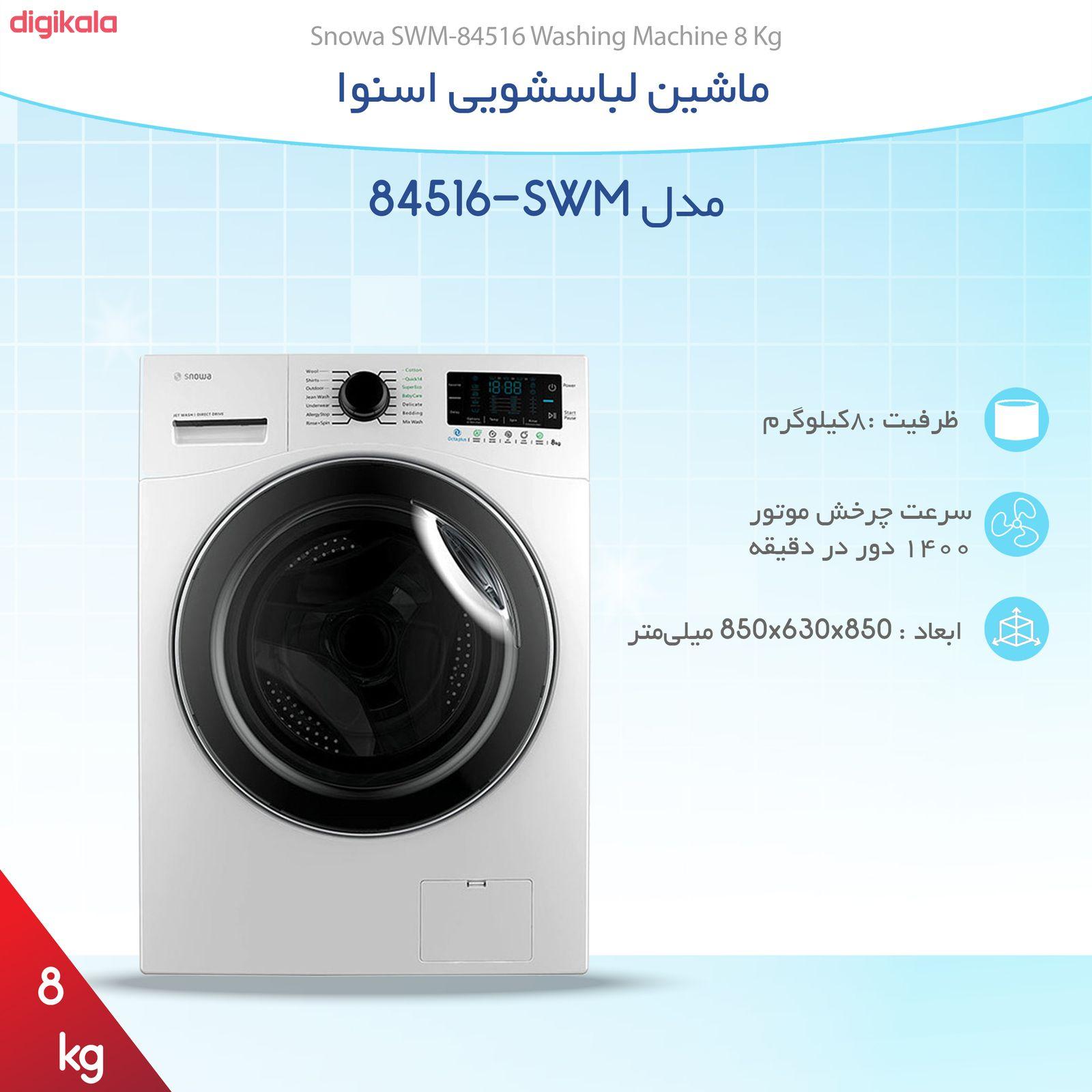 ماشین لباسشویی اسنوا مدل SWM-84516 ظرفیت 8 کیلوگرم main 1 6