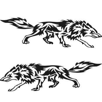 برچسب بدنه خودرو طرح گرگ شکارچی 02 بسته 2 عددی