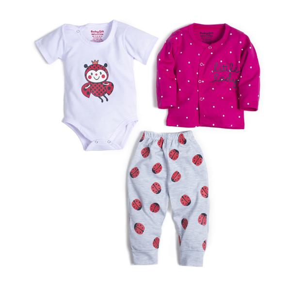 ست 3 تکه لباس نوزادی دخترانه مدل کفشدوزک کد 55