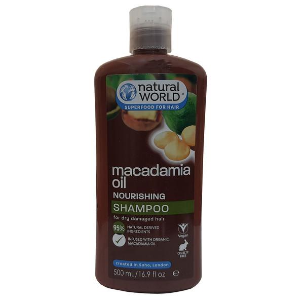 شامپو مو نچرال ورلد مدل Macadamia oil حجم 500 میلی لیتر