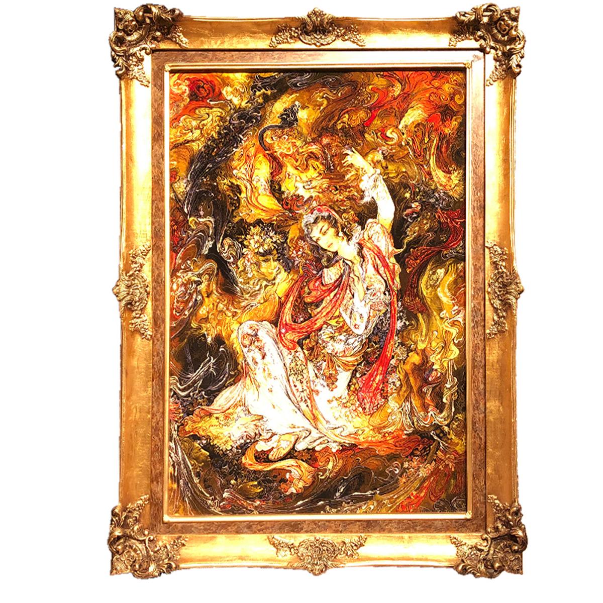 تابلو فرش دستبافت طرح مینیاتور سروش عالم غیب استاد فرشچیان کد 1104961