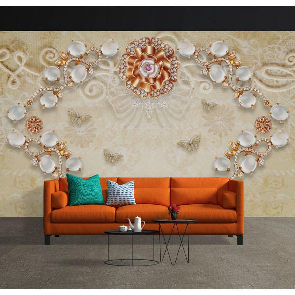 پوستر سه بعدی طرح گل رز نگین دار و پروانه ها کد 15832255
