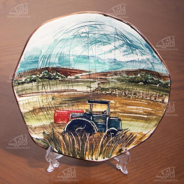 بشقاب سفالی آرانیک نقاشی زیر لعابی رنگارنگ طرح مزرعه مدل 1000200050