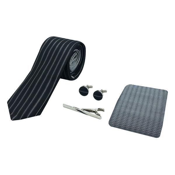 ست کراوات و دستمال جیب و دکمه سر دست مردانه مدل 73