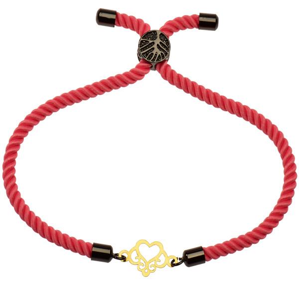 دستبند طلا 18 عیار دخترانه کرابو طرح قلب مدل Krd1120