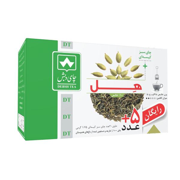 چای سبز کیسه ای هل چای دبش بسته 25 عددی