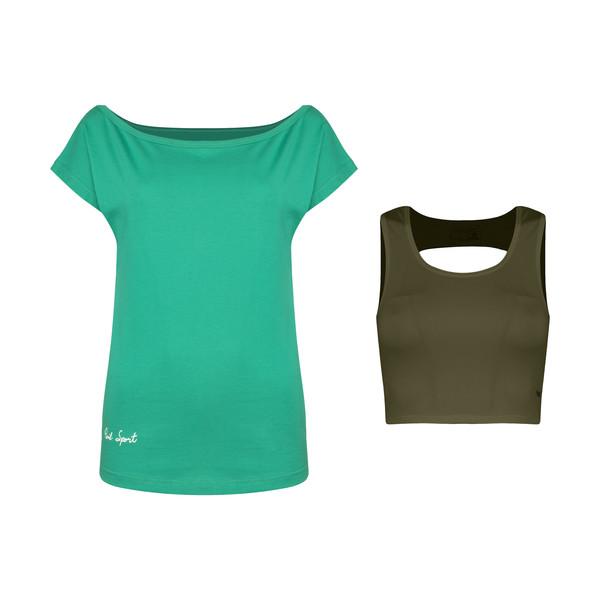 ست تی شرت و نیم تنه ورزشی زنانه پانیل مدل 167GAN