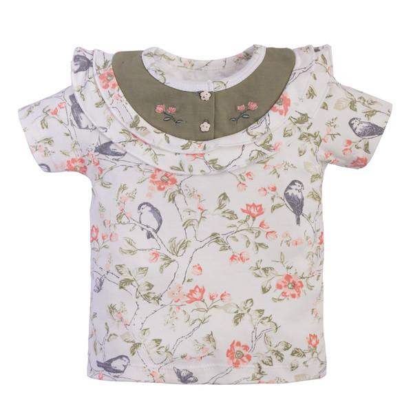 تی شرت آستین کوتاه نوزادی نیلی مدل گنجشک کد 08414
