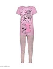 ست تی شرت و شلوار زنانه فمیلی ور طرح دختر کد 0222 رنگ صورتی -  - 5