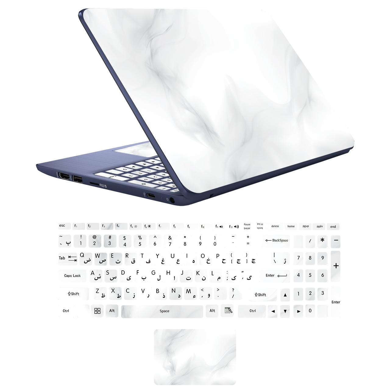 استیکر لپ تاپ مدلstone 01 مناسب برای لپ تاپ17 اینچی به همراه برچسب حروف فارسی کیبورد