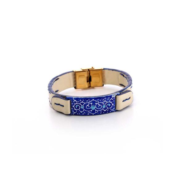 دستبند دستساز زنانه آرانیک مدل چرمی با تزیین میناکاری کد 1511700018