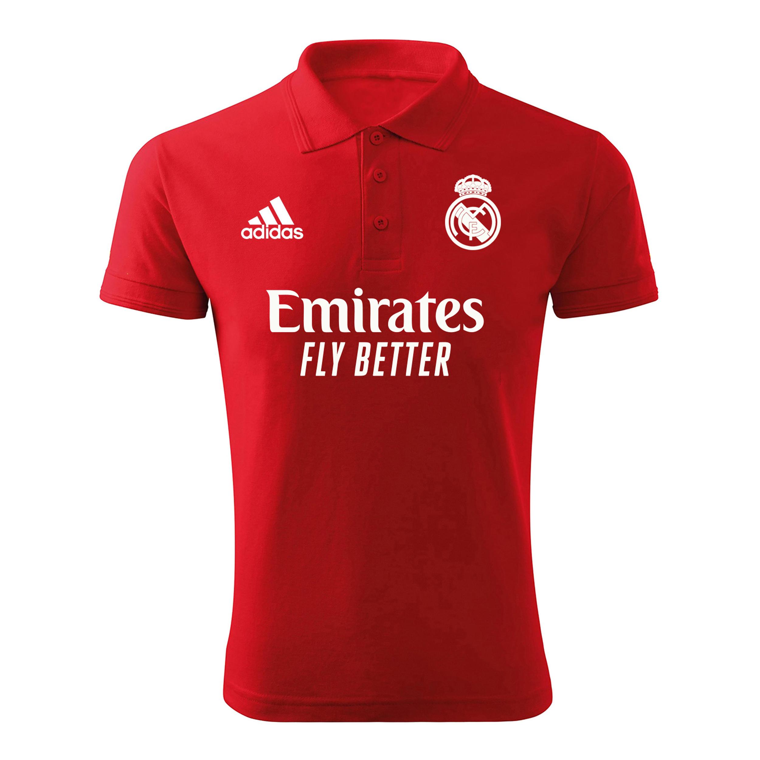 پولوشرت ورزشی مردانه مدل رئال مادرید 6521 رنگ قرمز                     غیر اصل
