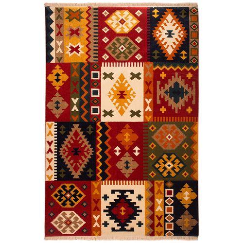 فرش ماشینی ساوین طرح کوکب کد FSM52 زمینه قرمز