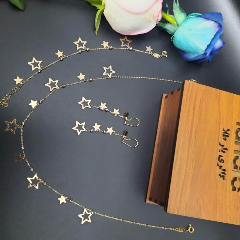 نیم ست طلا 18 عیار زنانه  گالری یارطلا مدل ستاره کد NS22