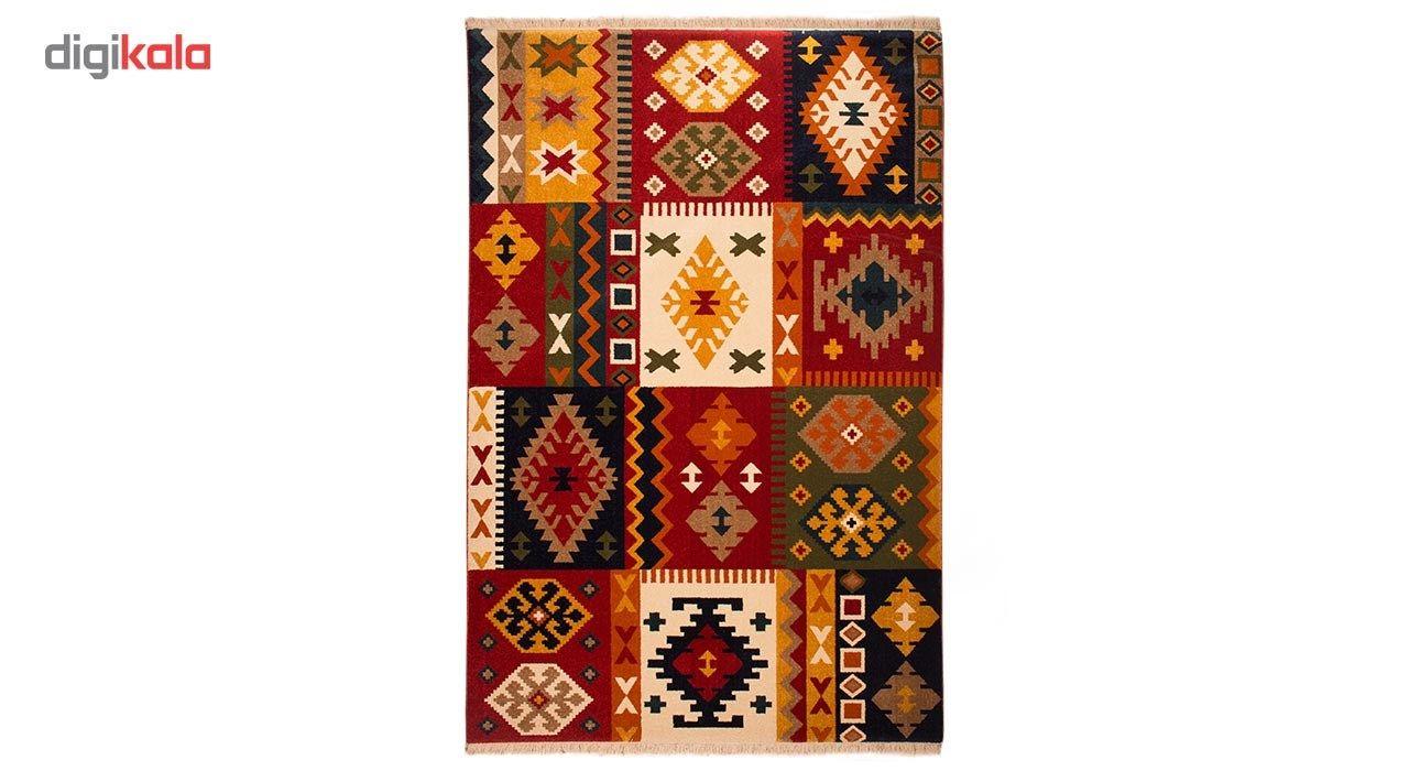 فرش ماشینی ساوین طرح کوکب کد FSM52 زمینه قرمز main 1 1