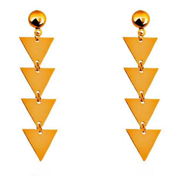 گوشواره طلا 18 عیار زنانه آمانژ مدل مثلث کد D2922