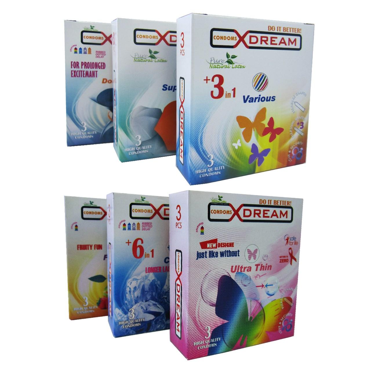 قیمت پک 6 بسته ای کاندوم ایکس دریم مدل جور 4 بسته 3 عددی