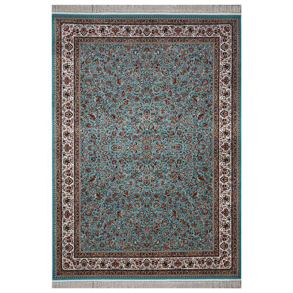 فرش ماشینی فرش هدیه طرح گل و مرغ زمینه آبی