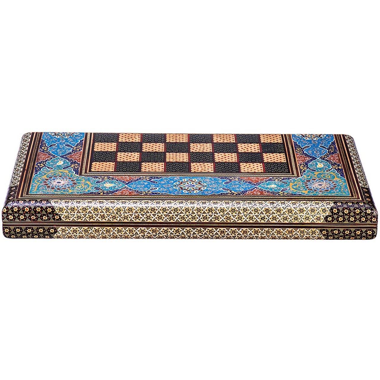 صفحه شطرنج خاتم اثر کروبی مدل لبه گرد طرح تذهیب طول 50 سانتی متر