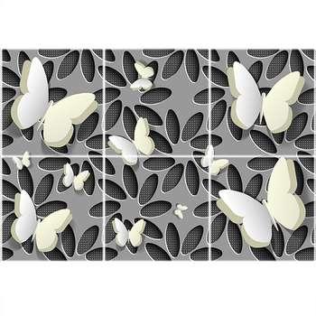تایل سقفی آسمان مجازی طرح گل و پروانه کد 1475-6 سایز 60x60 سانتی متر مجموعه 6 عددی