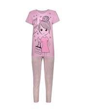 ست تی شرت و شلوار زنانه فمیلی ور طرح دختر کد 0222 رنگ صورتی -  - 1