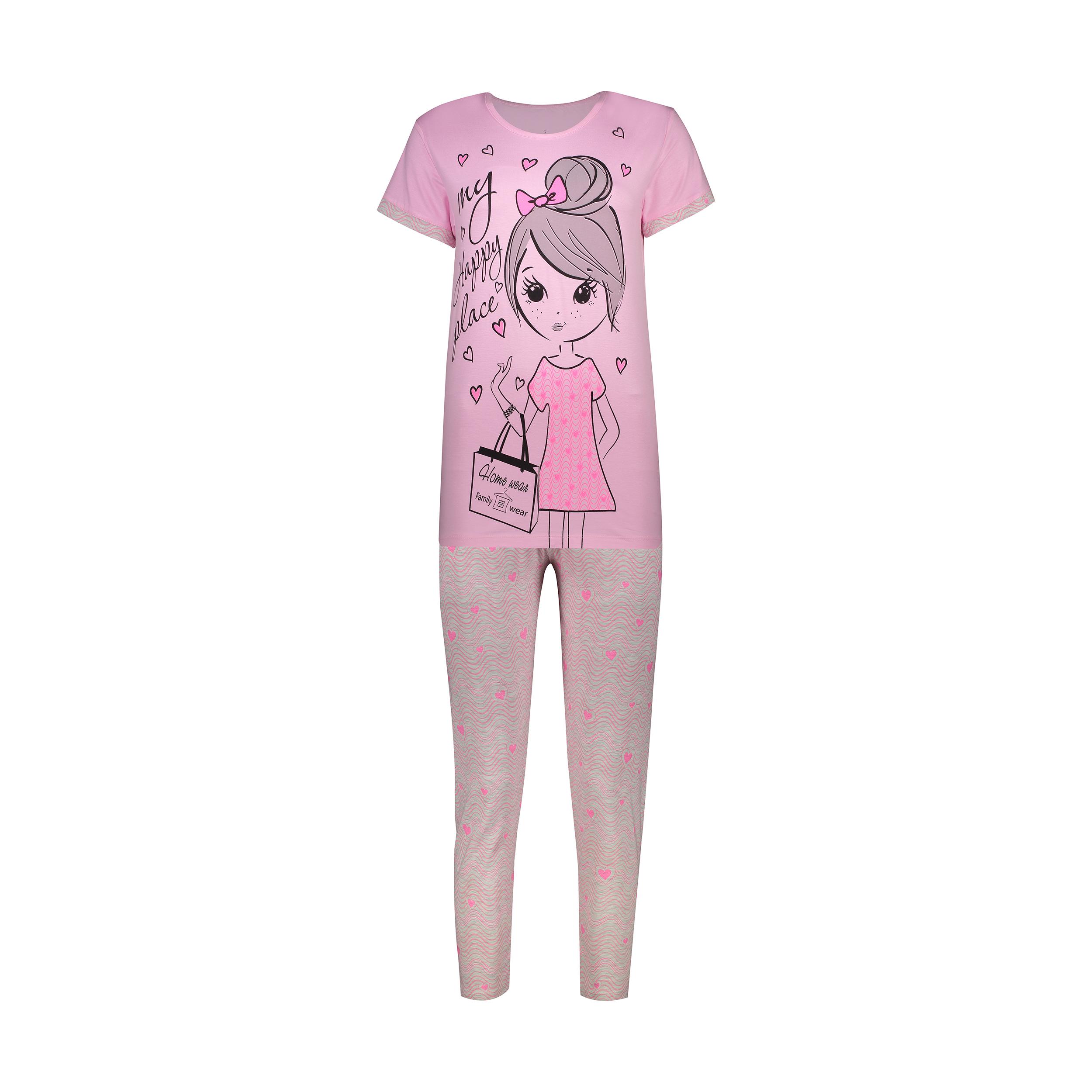 ست تی شرت و شلوار زنانه فمیلی ور طرح دختر کد 0222 رنگ صورتی -  - 2
