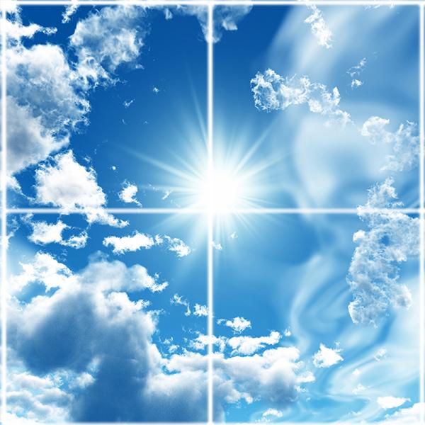 تایل سقفی آسمان مجازی طرح خورشید و ابرها کد ST 7141-4 سایز 60x60 سانتی متر مجموعه 4 عددی