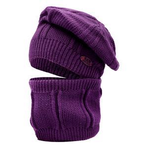 ست کلاه و شال گردن بافتنی دخترانه سام مدل 136 رنگ بنفش