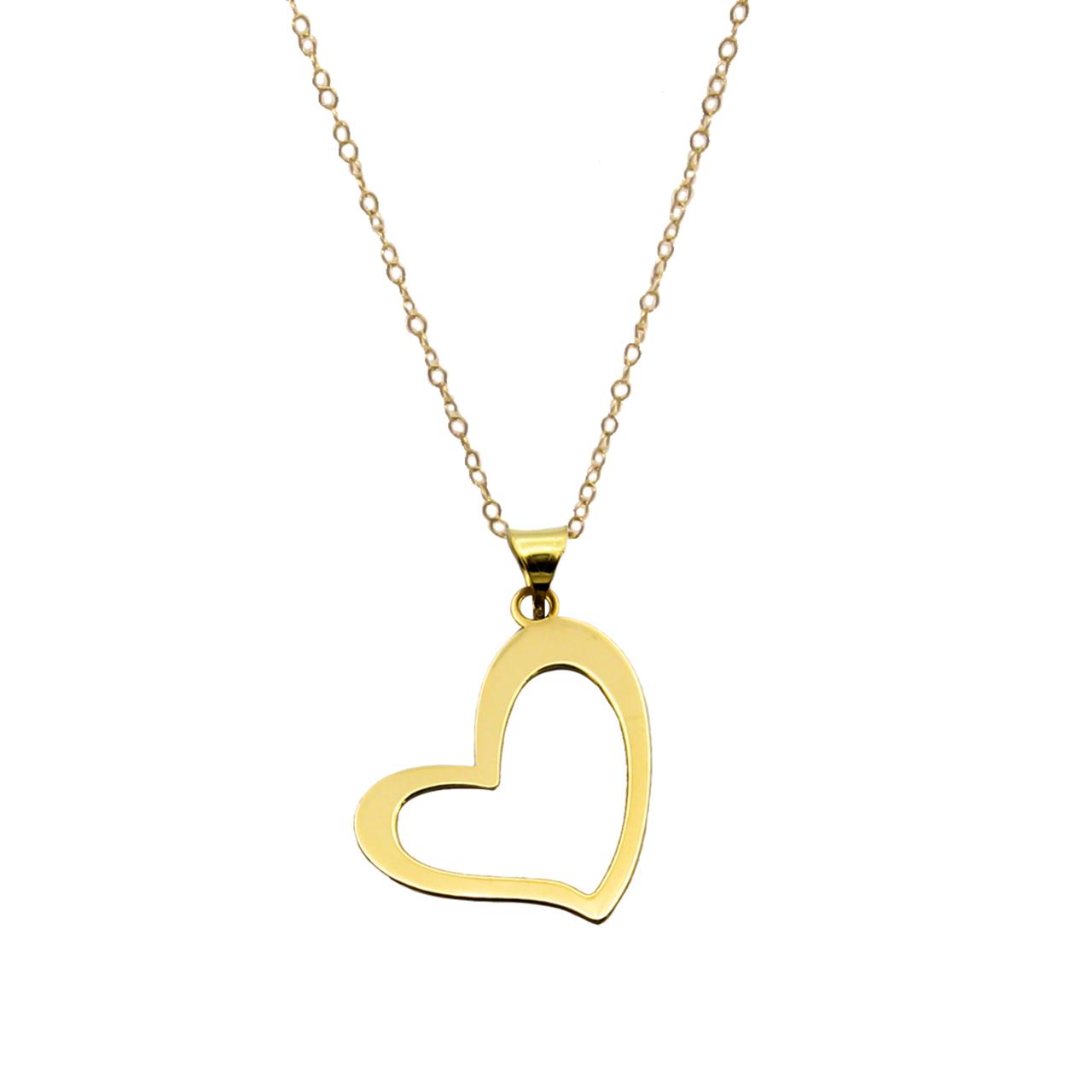 گردنبند طلا 18 عیار زنانه کاپانی مدل قلب کد KN019
