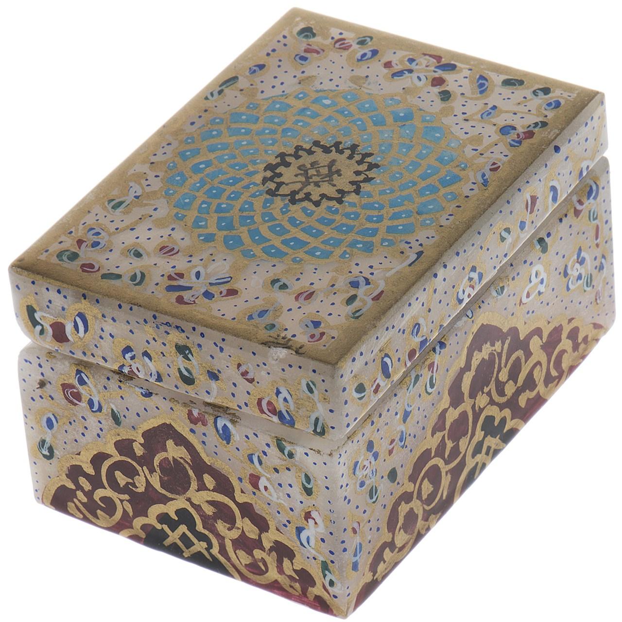 جعبه سنگ مرمر اثر بابایی طرح تذهیب فرش سایز 7 × 5 سانتی متر