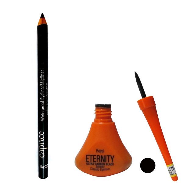 پک خط چشم مایع ماژیکی رویال اترنیتی مدل ULTRA CARBON BLACK با مداد چشم هدیه