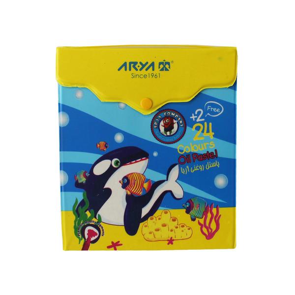 پاستل روغنی 26 رنگ آریا طرح دلفین مدل 86-07