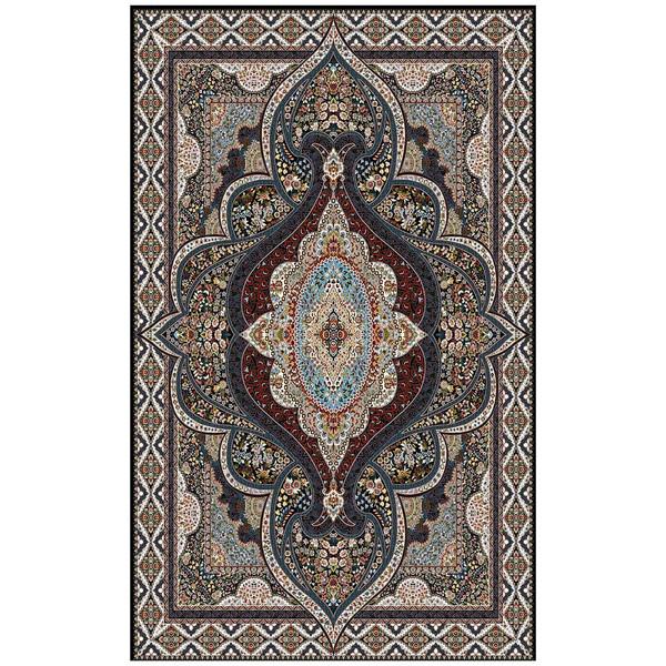 فرش ماشینی ماندگار پارس طرح کیمیا زمینه سورمه ای