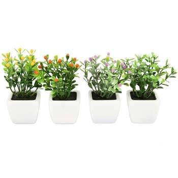 گلدان به همراه گل مصنوعی هومز طرح توپی مدل 30213 مجموعه 4 عددی