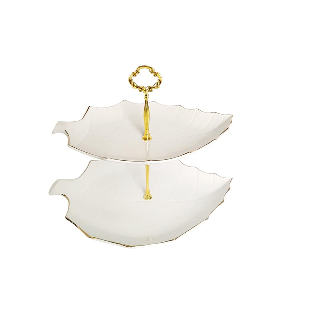 شیرینی خوری لیمون چینی طرح خط طلا مدل برگ