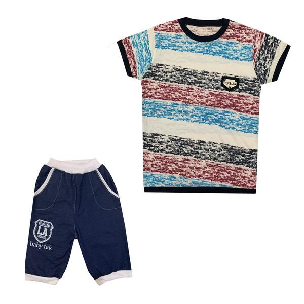 ست تی شرت و شلوارک پسرانه کد 012