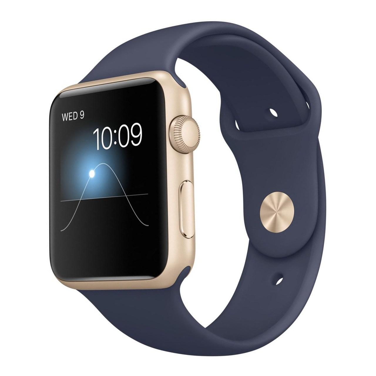 ساعت هوشمند اپل واچ سری ۱ مدل ۴۲mm Gold Aluminum Case with Midnight Blue Sport Band