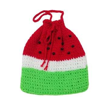 کیف دستی بافتنی دخترانه طرح هندوانه