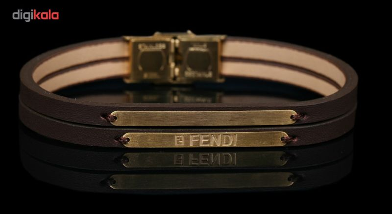 دستبند طلا 18 عیار نفیس گلد مدل MG18 چرم قهوه ای